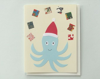 Octopus Santa - papercut collage card