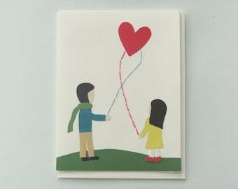 Heart kite - papercut collage card