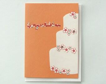Origami wedding cake - papercut collage card