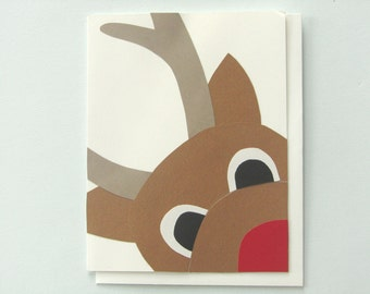 Close Encounter with Rudolph - papercut collage Card