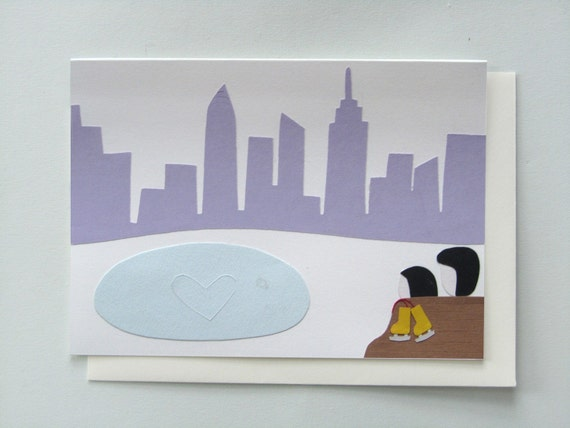 Winter Love in New York - papercut collage card