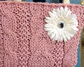 Hand knit Pink purse with White Daisy Flower