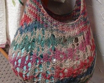 Pattern for Hand Knit Cotton Shopping Bag Tote Lace Pattern