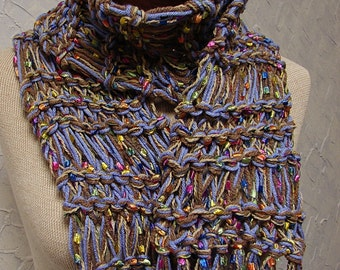 Handknit Lavender and Rainbow Scarf with Fringe
