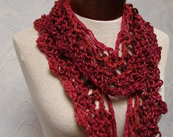 Long and Narrow Red Lace Scarf made from Acrylic Yarn