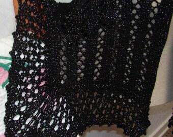 Black Sparkly Glitter Elegant Shawl