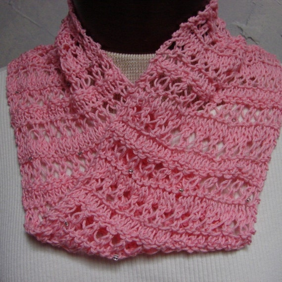 Knit Flower Pattern Free : Pattern Knit Lace Scarf Neckwarmer Mobius Cowl Knitting
