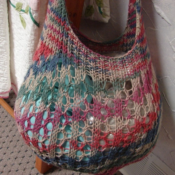 Knitted Shopping Bag Pattern : Pattern for Hand Knit Cotton Shopping Bag by TerrificCreations