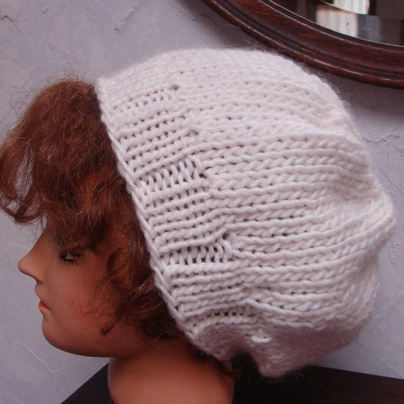 Free Knitting Pattern Hat With Bulky Yarn : Beret Pattern for Slouch Hat Hand knit bulky by ...
