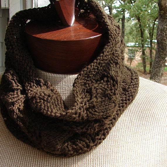 Brown Wool Cashmere Cowl or Neck Warmer