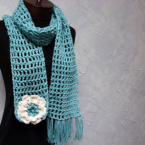 Light Teal Lace Scarf Soft Acrylic