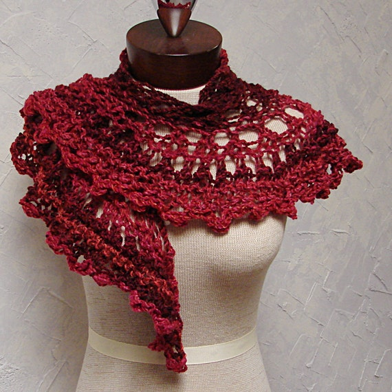 Knit Scarf Pattern With Bulky Yarn : Pattern for Lace Shawl or Scarf Bulky yarn by TerrificCreations