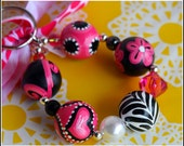 Hand Painted Wooden Bracelet KeyChain Key Fob Pink Zebra-Great gift for Valentine's Day