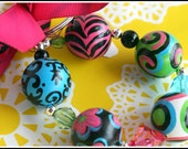 Hand Painted Wooden Bracelet KeyChain Key Fob