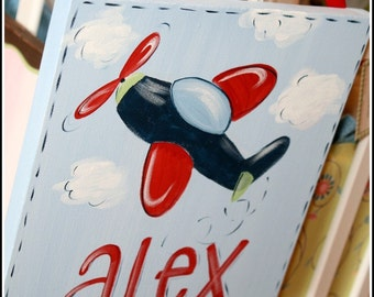Custom Hand Painted Name Plaque Canvas Airplane Design