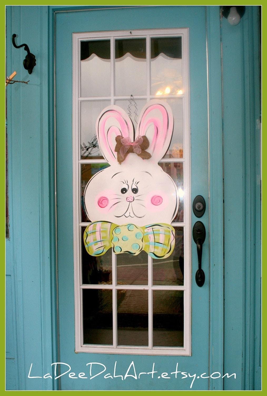 Large Wooden Easter Bunny Door Hanger Decor Art Hand Painted