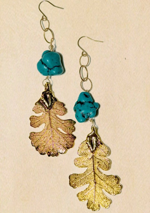 Gold dipped oak leaf earrings