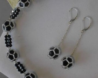 Jet Dodecahedra Necklace & Earrings Set