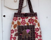 Large Tote Bag with Elephant Applique