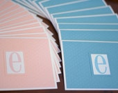 Set of 24 Pink and Blue E Monogramed Notecards