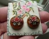 Vintage Wooden Earrings with Floral Accents - FREE DOMESTIC SHIPPING and LOW INTERNATIONAL