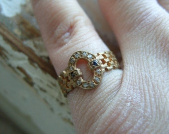 FREE SHIPPING Vintage Brass Ring with Rhinestone Accents - Size 8 1/2