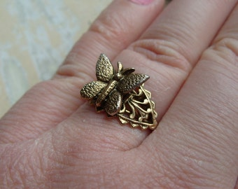 FREE SHIPPING Vintage Brass Butterfly RIng - Adjustable Band