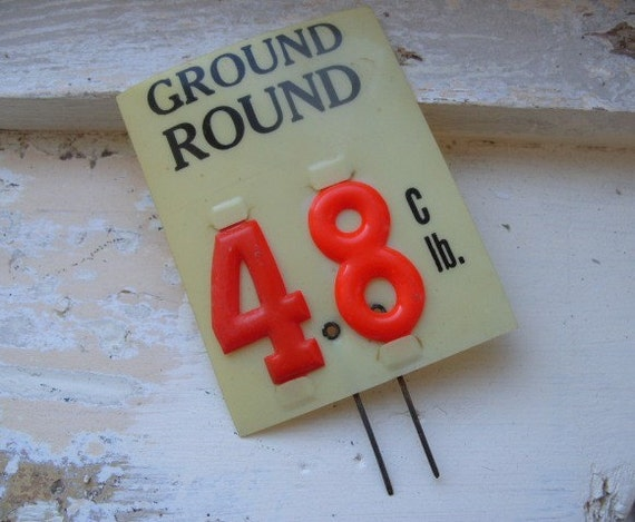Vintage Grocery Store Meat Market Price Tag Ground Round
