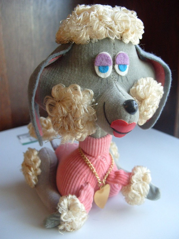 Vintage Stuffed Poodle Dog - Made in Japan