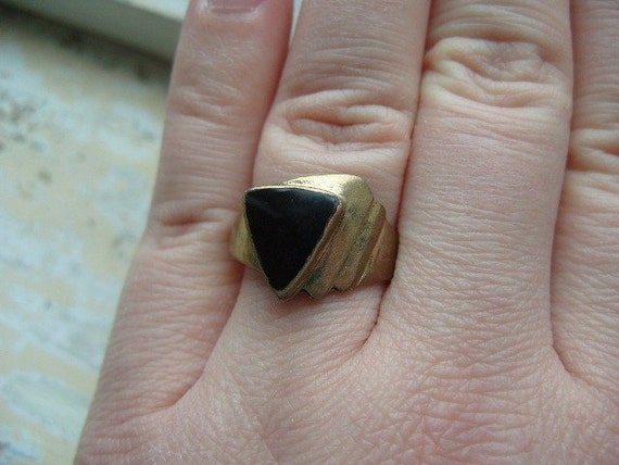 FREE SHIPPING Vintage Brass Ring Art Deco Style Size 9 1/2