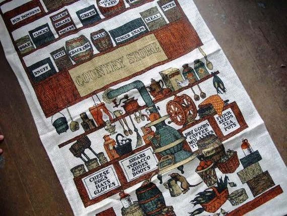Vintage Linen Tea Towel - Old General Country Store Theme