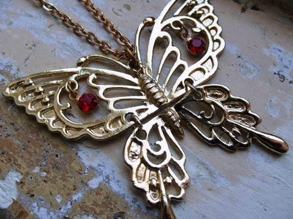 FREE SHIPPING Vintage Butterfly Necklace Articluated with Red Rhinestone Eyes