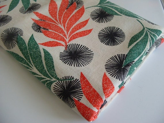 Vintage MOD Tropical Floral Print Fabric 3.9 yds