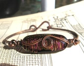 Simply Mine, Copper and Fused Dichroic Bangle Bracelet, Raspberry Delight