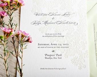 Leaves Letterpress Wedding Invitation Samples