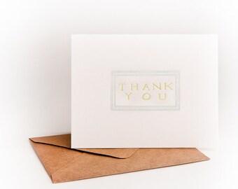 Hand Lettered Thank You Letterpress Cards (Set of 6 cards)