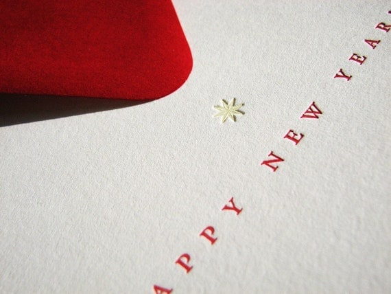 Bright Red Happy New Year cards (set of 5 square cards and envelopes)