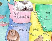 USA Map for kids 20 x 28 inch watercolor art nursery poster by mungaro