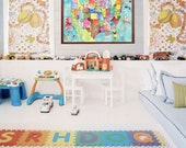 USA Map for Kids 18 x 24 inch STUDIO SALE watercolor art playroom poster by mungaro