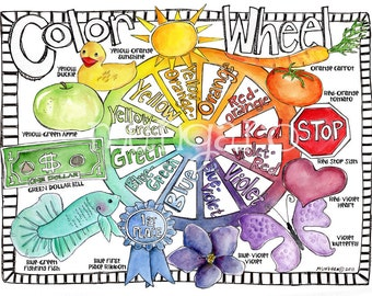 20 x 30 inch Color Wheel art nursery poster for children by Marley Ungaro