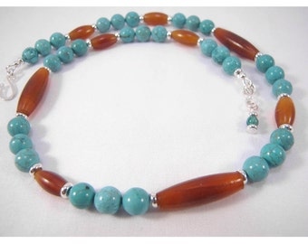 Sedona Series - Turquoise and horn simple necklace