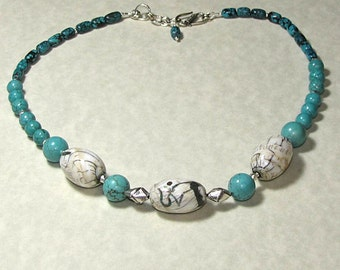 Turquoise and Naga Shell Ohm Necklace