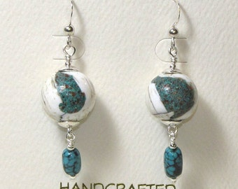 Naga Shell and Turquoise Earrings