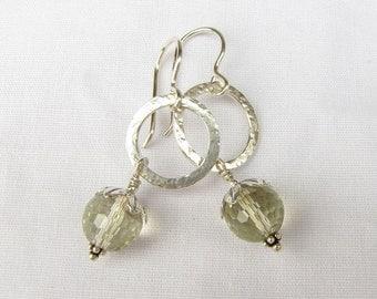 Faceted Lemon Quartz Sterling drop earrings