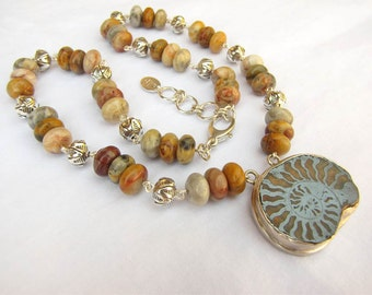 Ammonite, Jasper and Sterling Silver hand-wired statement necklace