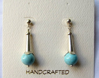 Sterling silver robins egg turquoise drop earrings