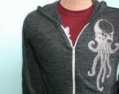 Mens Zip Hoodie - Skullopus Hooded Sweatshirt - Cthulu Skull Octopus Jacket