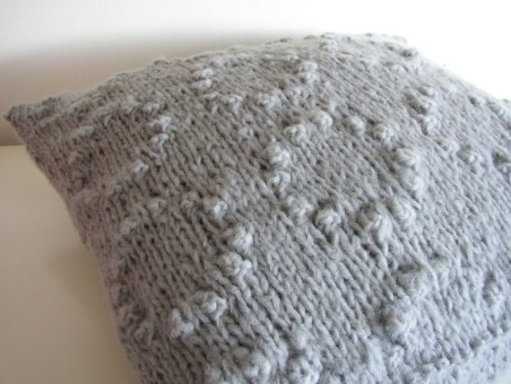 Bubbles and bobbles hand knitted cushion cover