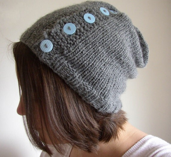 Slouchy Knit Beanie in Grey with Buttons - Button up Hat - Knit Hat - Gray