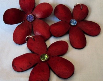 Red Daisy Leather Pendant